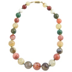 Multicolored Agate Bead Necklace