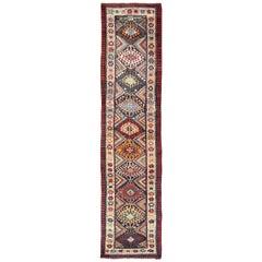 Multicolored Antique Caucasian Kazak Runner with Diamond and Star Motifs