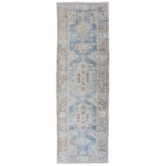 Multicolored Antique Persian Hamedan Gallery Rug with Geometric Medallions