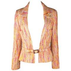 Multicolored Chanel Lesage Fantasy Tweed Jacket Blazer with Belt