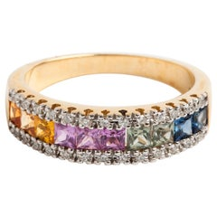 Multicolored Diamond and Sapphire Ring, 9 Karat White Gold Band, Square Cut