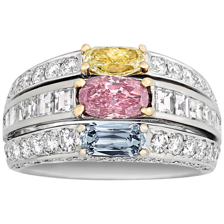 Multicolored Diamond Ring, 1.47 Carat