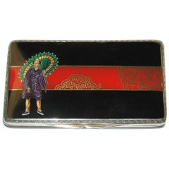 Multicolored Enamel and Silver Box, Japanese Style, Dated 1926, London