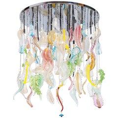 Multicolored Flush Mount in Blown Murano Glass Italy, Giovanni Dalla Fina