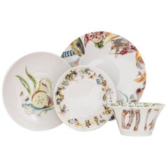 Multicolored French Limoges 4-Piece Porcelain Dinner Setting, Plates and Bowl