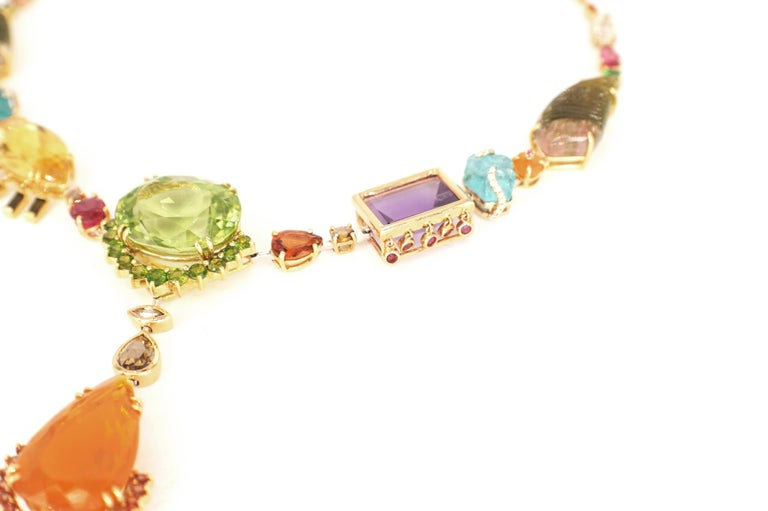 Sharon Khazzam Multicolored Gemstone and Diamond Tori Necklace In New Condition For Sale In Great Neck, NY