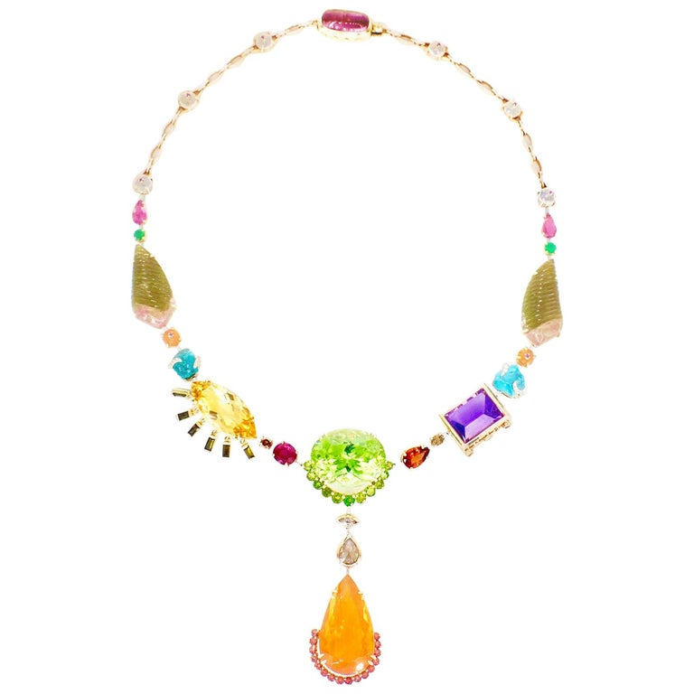 Sharon Khazzam Multicolored Gemstone and Diamond Tori Necklace For Sale