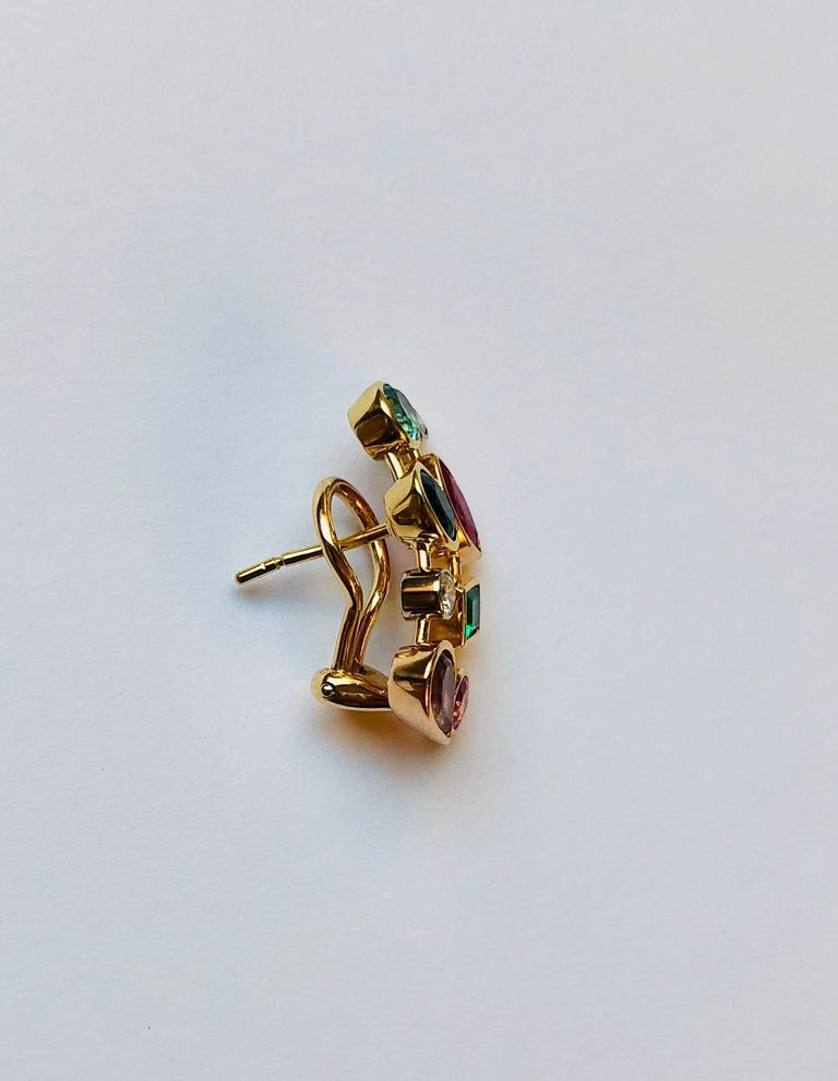 Round Cut Multicolored Gemstone and Diamond Tutti Frutti Earrings For Sale