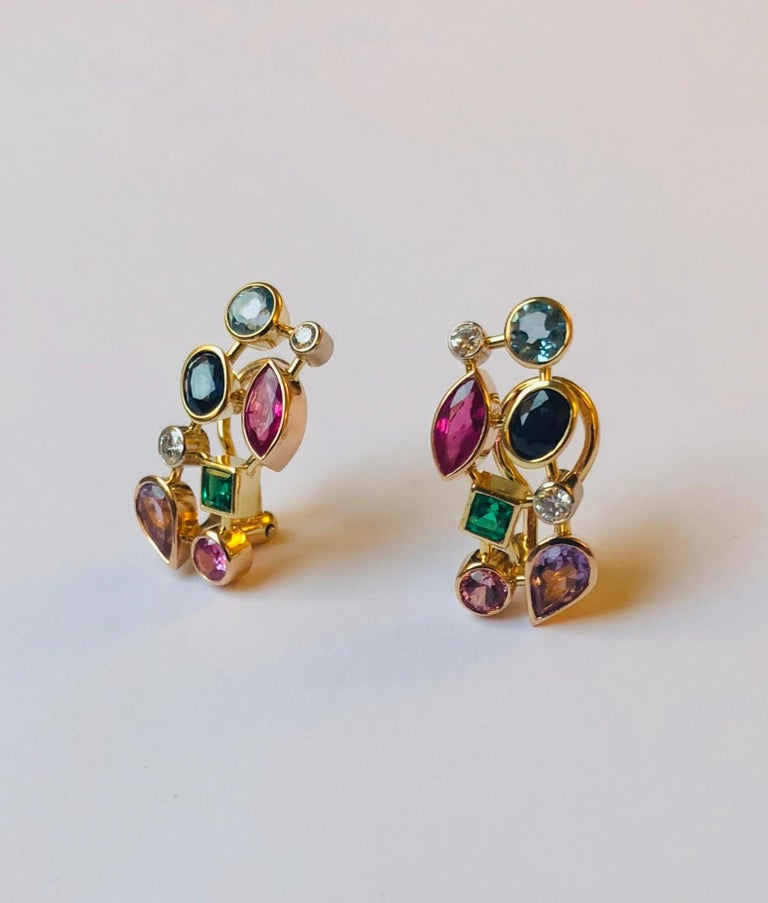 Multicolored Gemstone and Diamond Tutti Frutti Earrings In New Condition For Sale In Antwerpen, BE