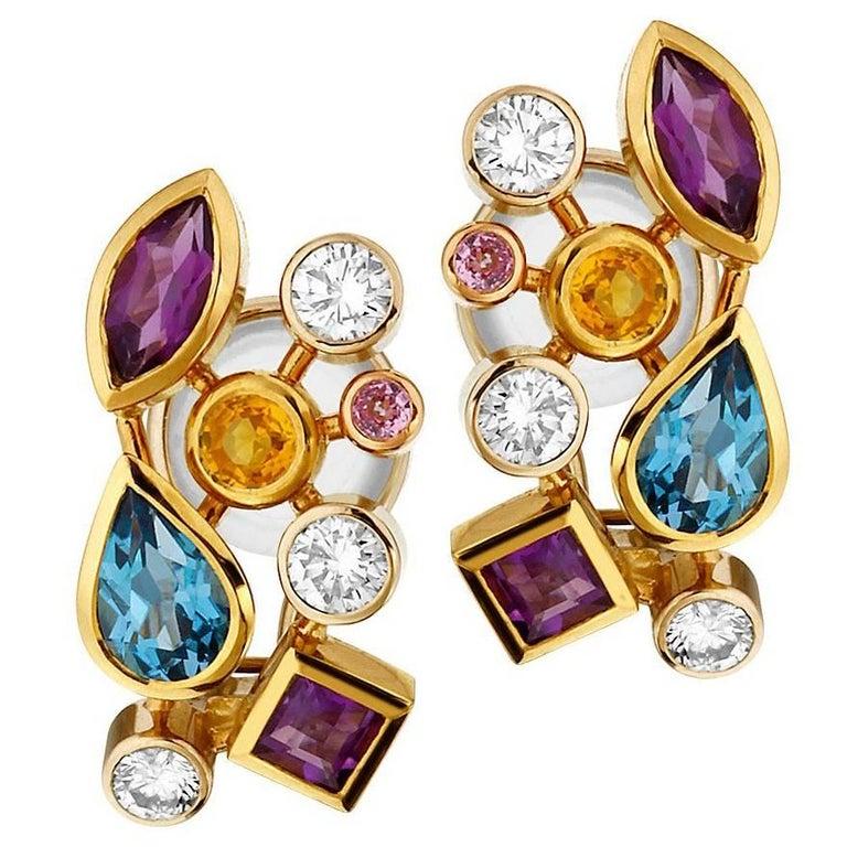 Multicolored Gemstone and Diamond Tutti Frutti Earrings For Sale