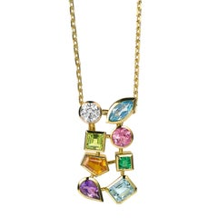 Multicolored Gemstone and Diamond Tutti Frutti Pendant