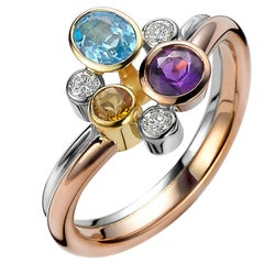 Multicolored Gemstone and Diamond Tutti Frutti Ring