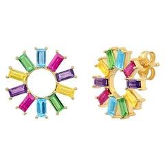 Multicolored Gemstone Baguette Wheel Studs, Gold, Ben Dannie