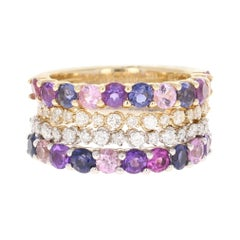 3.42 Carat Multi Gemstone and Diamond 14 Karat Gold Stackable Bands