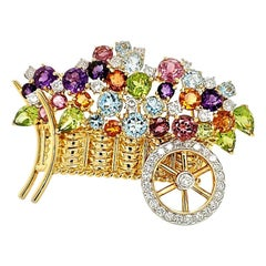Multicolored Gemstones and Diamond Gold Brooch