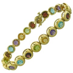 Multicolored Genuine Gemstone Bracelet in 14 Karat Yellow Gold