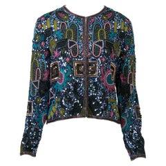 Multicolored Geometric Beaded Evening Jacket