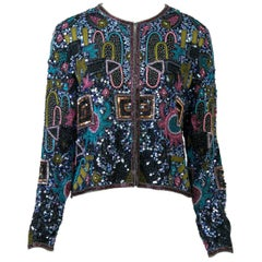 Multicolored Geometric Beaded Evening Jacket