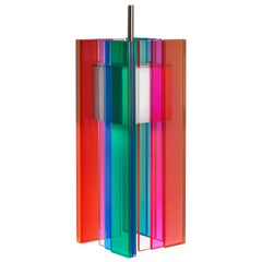 Multicolored Glass and Aluminum Contemporary LED Hanging Pendant Light