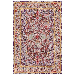 Multicolored Handwoven Wool and Silk Modern Persian Skull Rug by Gordian Rugs