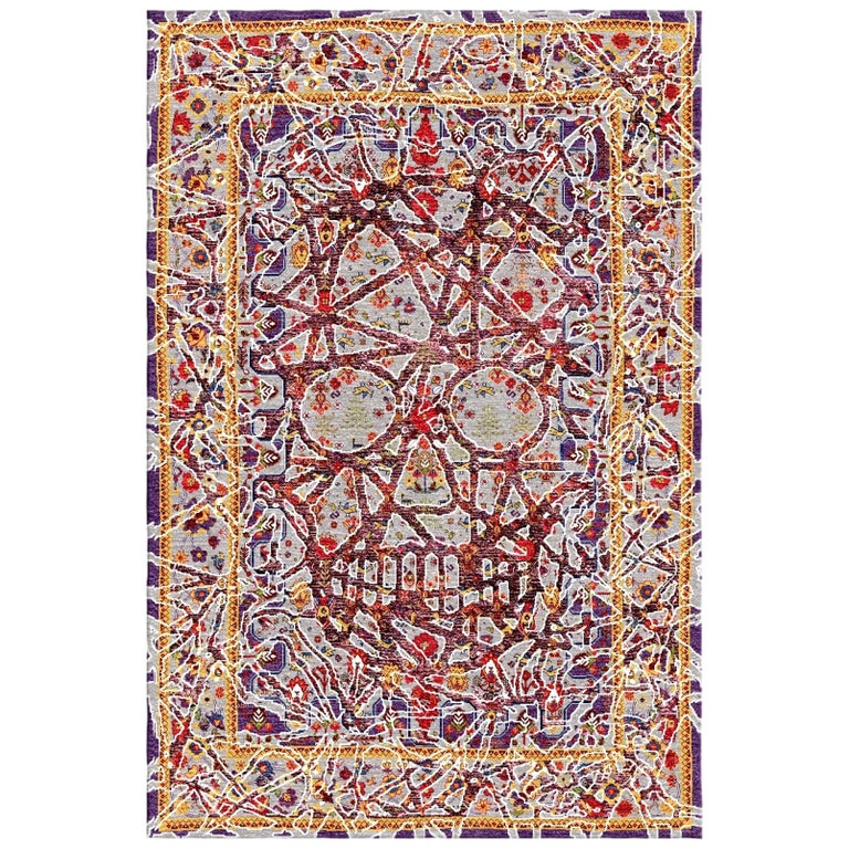 Multicolored Handwoven Wool and Silk Modern Persian Skull Rug by Gordian Rugs For Sale