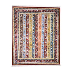 Multicolored, Kashkuli Shawl Design with Paisley Hand Knotted Rug