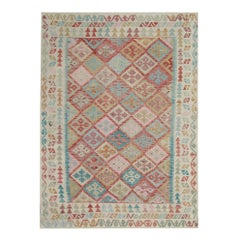 Multicolored Kilim Rugs Oriental Kelim Traditional Rugs, Carpet from Afghanistan