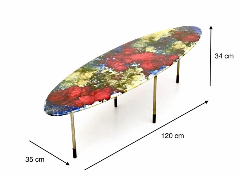 Multicolored Lacquered Ceramic Coffee Table by Stil Keramos, Italy, 1960s For Sale 7