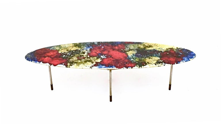 Italian Multicolored Lacquered Ceramic Coffee Table by Stil Keramos, Italy, 1960s For Sale