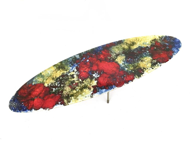 Mid-20th Century Multicolored Lacquered Ceramic Coffee Table by Stil Keramos, Italy, 1960s For Sale