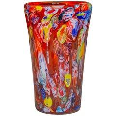 Multicolored Millefiori Glass Vase, 1960s