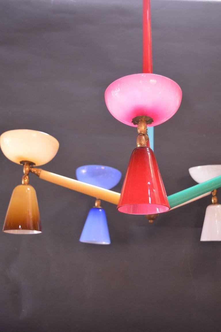 Multicolored Murano glass chandelier in the style of Gio Ponti.