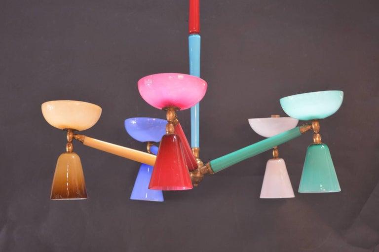 Italian Multicolored Murano Glass Chandelier in the Style of Gio Ponti For Sale