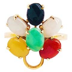 Multicolored Natural Jade Ring in 14 Karat Yellow Gold