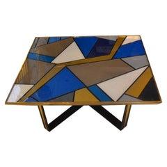 Multicolored Opalines Glass Italian Coffee Table Brass Edge, 1980s