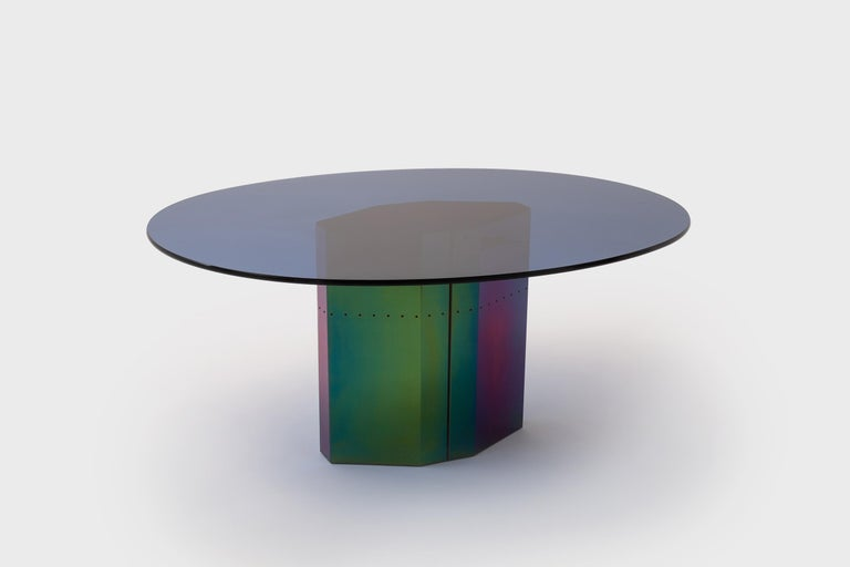 Rare and exceptional dining table mod. 'Polygonon' by Afra & Tobia Scarpa for B&B Italia, Italy 1984. The fantastic base is made from electro coated stainless sheets with an iridescent finish which shifts into different colors; from blue to green to