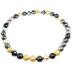 Multicolored Pearl Necklace, Tahitian, South Sea Golden and White 18 Karat Gold