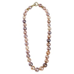 Multicolored Pearl Necklace with White Sapphire Clasp
