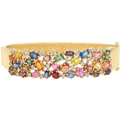 Multicolored Rainbow Sapphire and Diamond Bangle in 18 Karat Yellow Gold