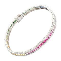 Multicolored Rainbow Sapphire and Diamond Bracelet