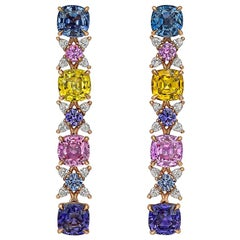 Multicolored Sapphire and Diamond Drop Earrings