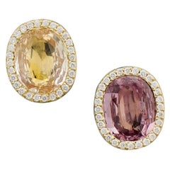 Multicolored Sapphire and Diamond Earrings in 18 Karat Yellow Gold