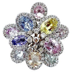 Multicolored Sapphire and Diamond Flower Ring