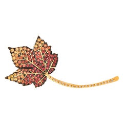 Multicolored Sapphire and Diamond Leaf Brooch