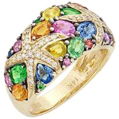 Multicolored Sapphire and Diamond Ring, 14 Karat Yellow Gold