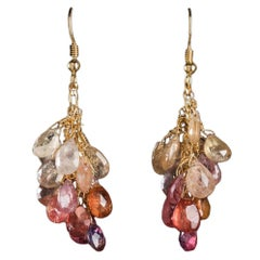 Multicolored Sapphire Briolette Earrings in 18 Karat Gold