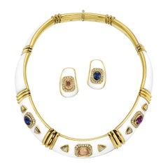 Multicolored Sapphire, Diamond and White Enamel Necklace and Earclips