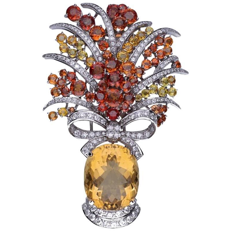 Multicolored Sapphire Diamond Topaz 18 kt. White Gold Bow Brooch