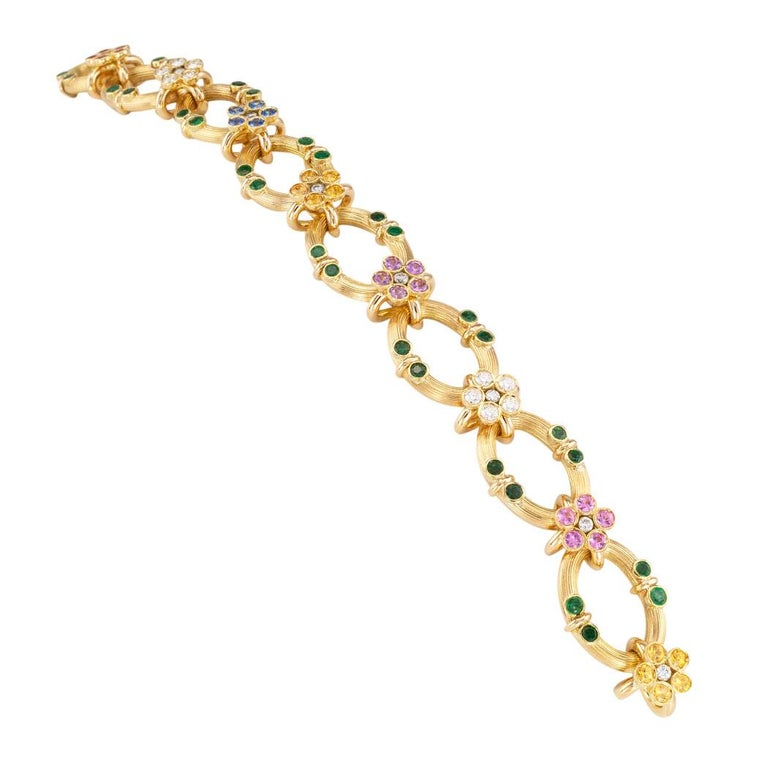 Round Cut Multicolored Sapphire Emerald Diamond Yellow Gold Link Bracelet For Sale