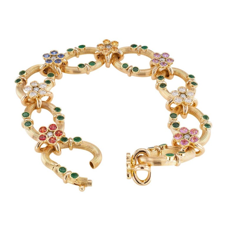 Multicolored Sapphire Emerald Diamond Yellow Gold Link Bracelet In Good Condition For Sale In Los Angeles, CA